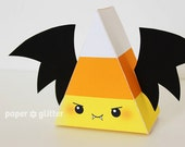 Halloween Bat Vampire Candy Corn Printable Favor Box for Party or Birthday Editable Text Printable PDF 1064