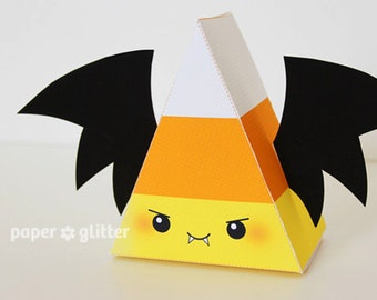 Halloween Bat Vampire Candy Corn Printable Favor Box for Party or Birthday Editable Text Printable PDF 1064