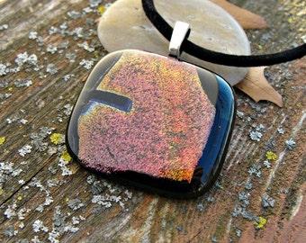 Rainbow Dichroic Fused Glass Pendant
