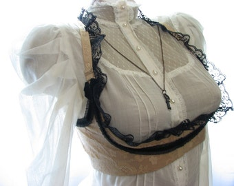 Strange Vintage Custom-Beige Upcycled Underbust Vest-Black Lace & Bows-Copper Key Hardware-Victorian Steampunk
