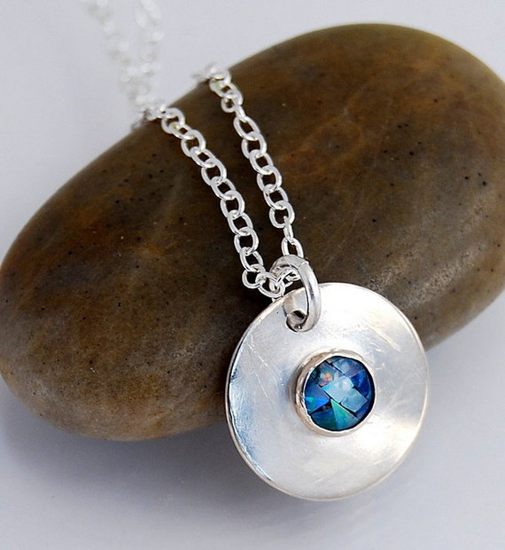 Sterling Silver and  Blue Opal Round Pendant Necklace