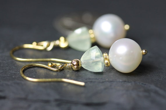 Freshwater Pearl Earrings with Prehnite trillion-cut gems on Vermeil French syle ear wires