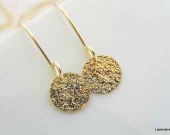 Gold Disc Earrings , Tiny Stardust Disc Earrings , Dangle  Gold Circle Earrings  , Simple Everyday Earrings in gold fill