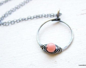 Coral Necklace , Pink Coral wrapped Circle Oxidized Sterling Silver Necklace , Pink Coral Necklace , Coral Jewelry