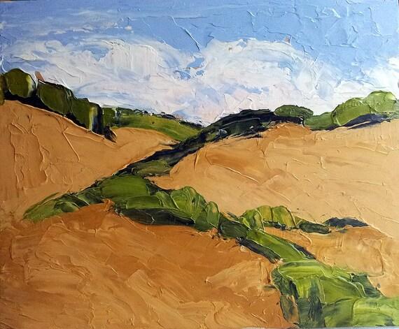 Impressionist Plein Air Landscape California GOLDEN SUMMER HILLS Lynne French Oil Art 8x10 Original Painting