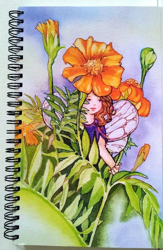 Journal Garden Elf MARIGOLD FAIRY Lynne French Art Diary 80 Pgs.Spiral Bound