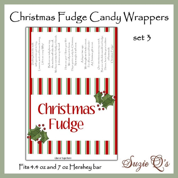Christmas Fudge Candy Bar Wrappers set 3 in 2 sizes