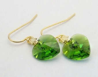 Swarovski crystal heart grass green earrings on gold plated surgical steel earwires for sensitive ears