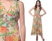 70s Maxi Dress Floral Garden Party Ruffle Empire Waist 1970s Deep V Chiffon Rose Print Flounce Romantic Vintage Gown Small Medium S M