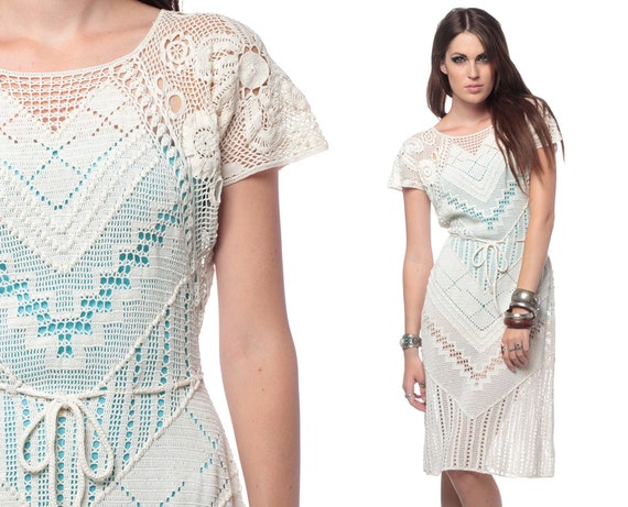 RESERVED White Crochet Dress 70s Open Weave Cut Out Boho Hippie 1970s Sheer Vintage Mesh Knit Festival Midi Cutout Dress Small Medium Large
