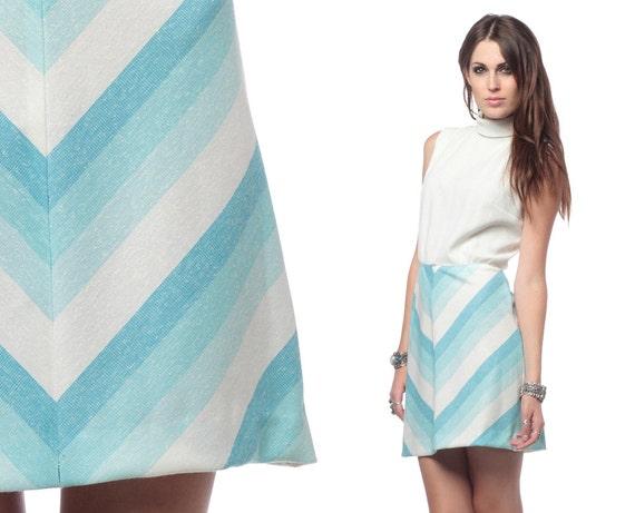60s 70s Chevron Stripe Dress Babydoll Mini Mod Light Blue White 1970s Retro High Waist Vintage Striped Sleeveless MiniDress Small Medium S M