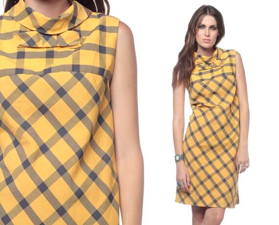 Mod Checkered Dress 60s Mini BOW Plaid Cotton 1960s Shift Yellow Vintage Sleeveless Turtleneck Sixties Retro Grey Day Dress Large