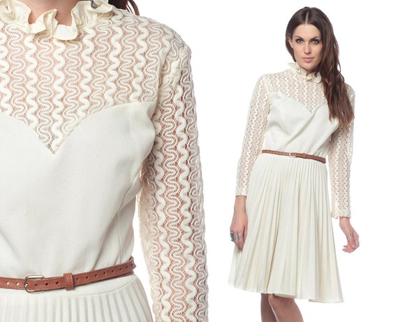 70s Crochet Dress Ivory Pleated 1970s Boho Ruffle Neck Seventies Vintage Bohemian Wedding Sheer Lace Sweetheart Long Sleeve Extra Large XL