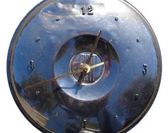 Hubcap Clock,  Fiat 1960s (a wall clock, recycled, retro)