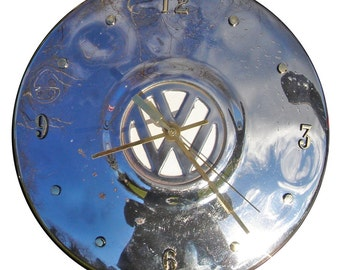 Wall clock hubcap: VW Hubcap Clock, 1960s and 70s, with numbering (h Grade B)