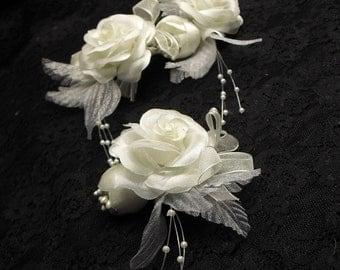 Ivory flower hair clip, Organza petals
