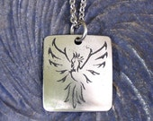 Phoenix Necklace SMALL Stainless Steel Etched - Rebirth, Renew - on Stainless Steel Chain