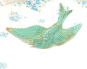 Verdigris Sparrow Hair Barrette - Large Sparrow - Swallow Bird - Wedding Hair - Bridal Hair Accessory - Whimsical - Woodland - Green Patina