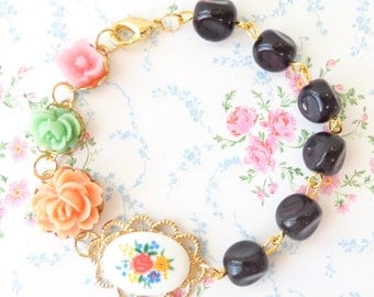 Gold Beaded Flower Bracelet - Whimsy - Whimsical - Romance - Bridal