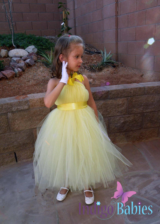 Tutu Dress Flower Girl Dress Pale Yellow Tulle by indigobabies