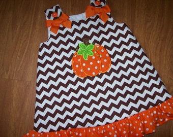 Custom Personalized Chevron BOUTIQUE PUMPKIN  Dress Halloween / Thanksgiving