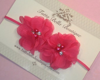 Hot Pink Flower Headband, Baby Headband, Pearl & Rhinestone Headband, Pink Chiffon Flower, Baby Hair Bow, Baby Bow, Toddler Headband