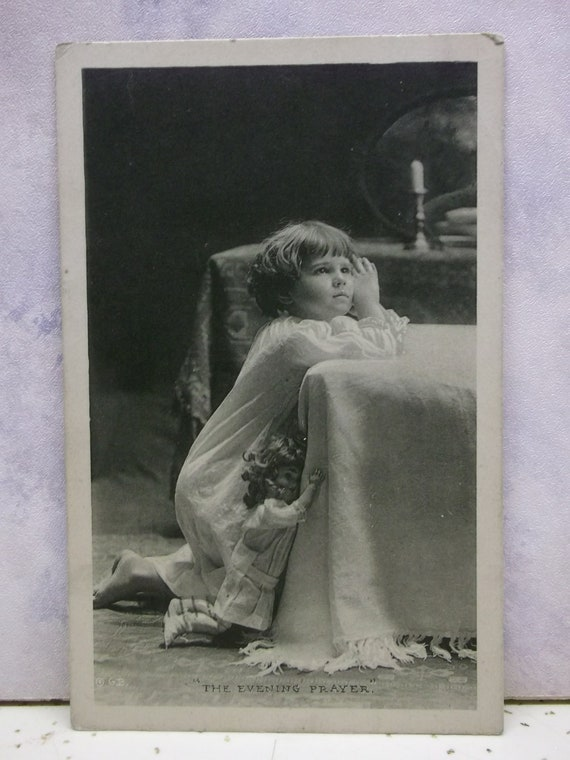 Little Girl in Nightgown Praying with Her Doll - Vintage Photo Postcard - 1916