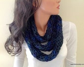 Baby Alpaca Chunky Knit Infinity Scarf in Multicolor Dark Blue Green Purple Handknit Neckwarmer Cowl (Ready to Ship) Color H19