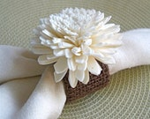 Napkin Rings - set of four made with chocolate brown burlap and Sola flowers, houseofpeltier