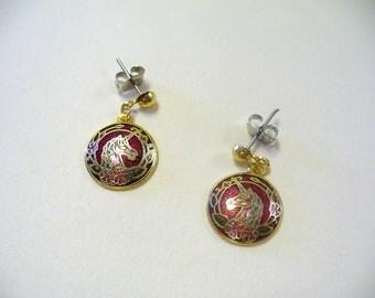 Vintage Cloisonne Unicorn Earrings