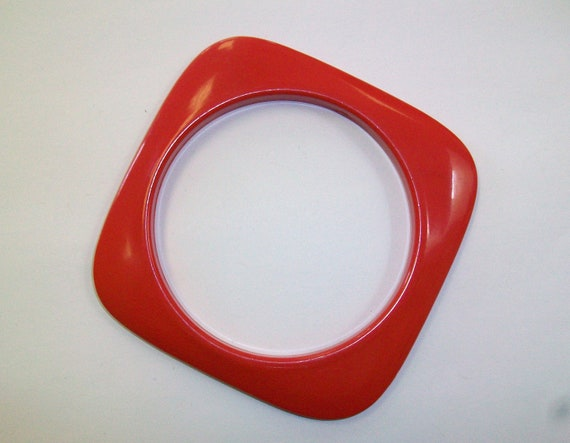 Vintage Square Red Plastic Bangle Bracelet DEADSTOCK