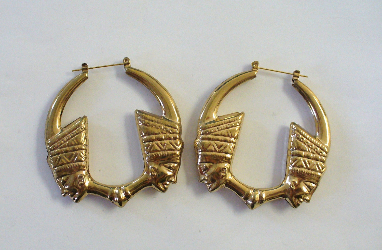 Vintage Nefertiti Door Knocker Earrings Deadstock