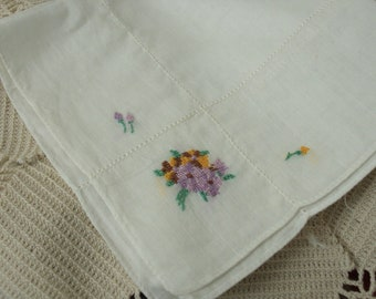 Ladies Vintage Handkerchief, White with Petite Point Embroidery