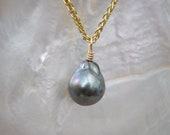 Tahitian Pearl and 14K Yellow Gold Pendent