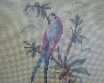 Vintage Picture 40's Bird  Wool Needlepoint in Wood Bamboo Style Carved Frame