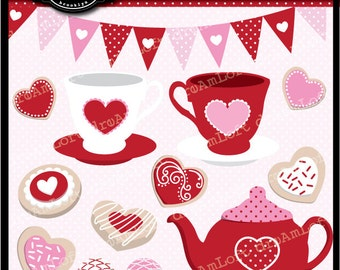 Valentine Tea Party Clip Art Digital Collage Sheet Clipart for valentines, stationary, invitations, scrapbooking