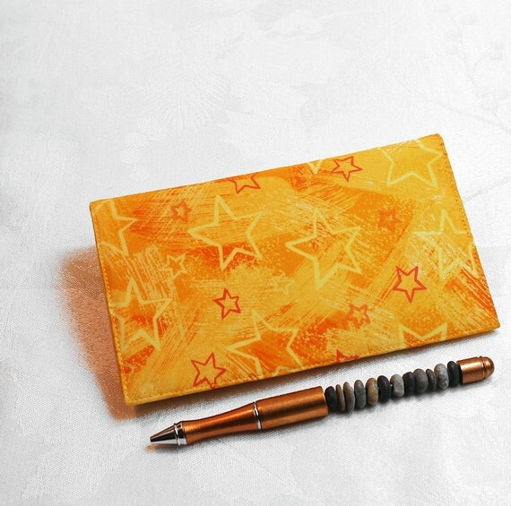 Yellow Stars Fabric Checkbook Cover for Duplicate Checks with Pen Holder