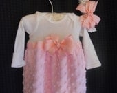 Boutique Pink Minky Chenille Infant  Girls Layette Gown Set Soo Pretty great for coming home outfit