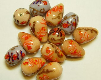India Glass Flower Beads Multi Color with Mixed Shapes 14mm
