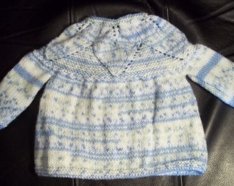 Blue Baby Sweater Cardigan  made with Wonder Yarn Fair Isle Effect