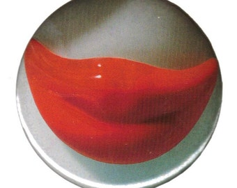 Smiling Red Lips Pinback Button - 2 1/4 inches