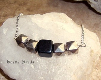 Modern Geometric Handmade Cube Necklace- Blackstone  and Silver Pewter Faceted Cube Beaded Pendant