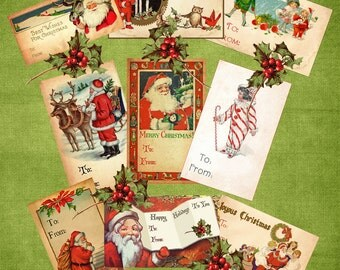 Vintage Christmas Gift Tags Digital Download Printable Collage Sheet Santa Clip Art Labels Scrapbook Graphic Images