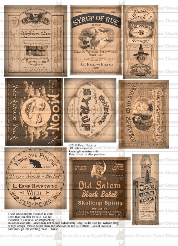Potion Bottle Halloween Witch Labels Digital Download Printable Collage Sheet Tag Clip Art DIY Scrapbooking