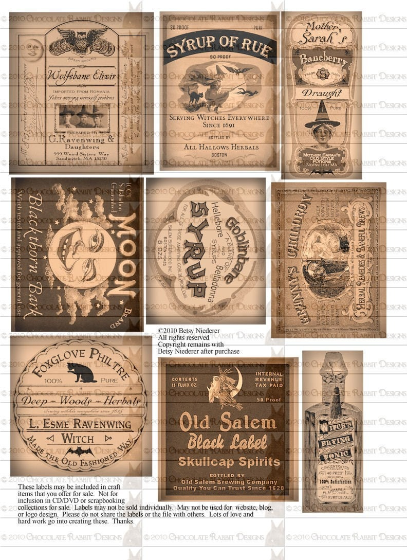 potion bottle labels