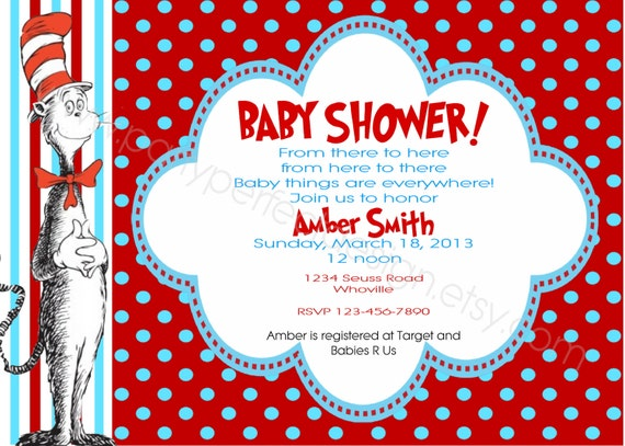 Cat In The Hat Baby Shower Invitations and get inspiration to create nice invitation ideas