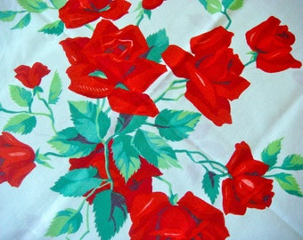 Vintage Wilendur Red Rose Tablecloth Fabric 17 x 17 Inches Pillow Front