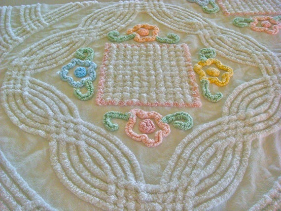 Pastel Floral Vintage Cotton Chenille Bedspread Fabric 25 x 17 Inches