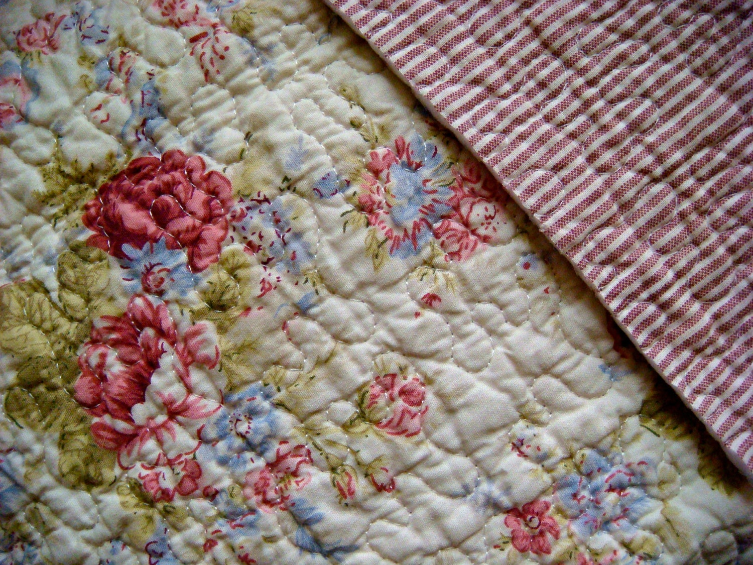 Pink Floral Pre Quilted Cotton Double Sided Fabric