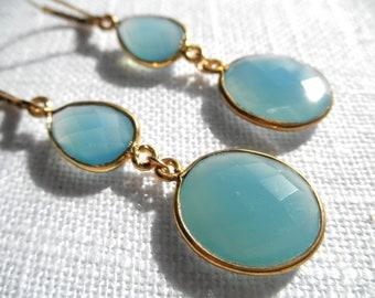 Blue Chalcedony earrings - blue earrings - gold earrings - E A R R I N G S 112